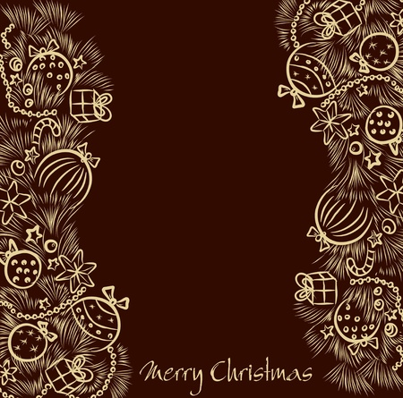 Christmas background with two golden garland handmade Vector