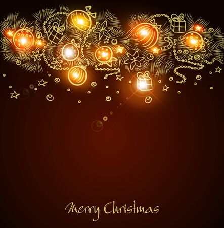Christmas  background with a glowing golden garland handmade Vector