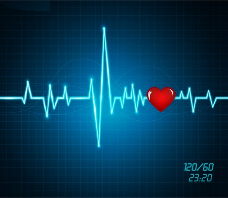 batida de cora��o:  background with a monitor heartbeat, heart Ilustra��o