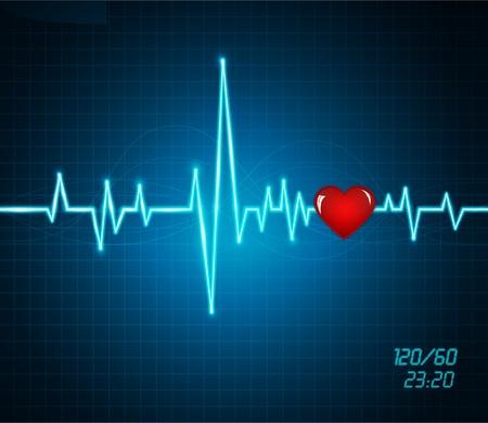electro: Hintergrund mit einem Monitor Herzschlag, Herz Illustration