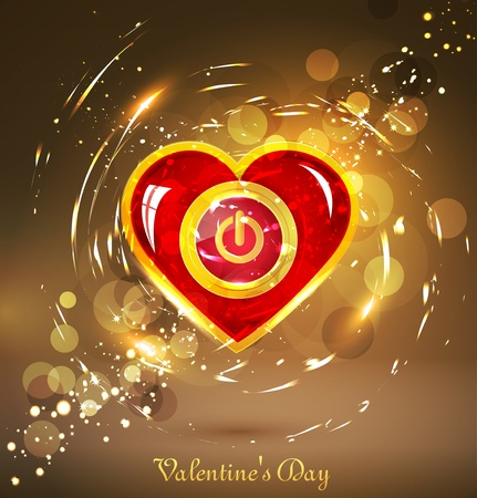 festive background with the button power in the form of heart Vector