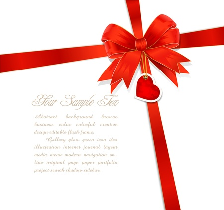 red gift bows with ribbon and heart Vector