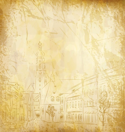background (the old paper with a painted old town) Vector