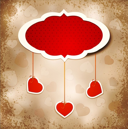 valentine background: Vintage grunge background to a festive Valentines Day with three dangling hearts