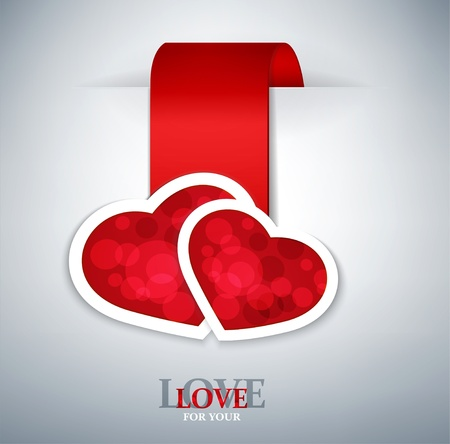 romantic  background with two red hearts Vector