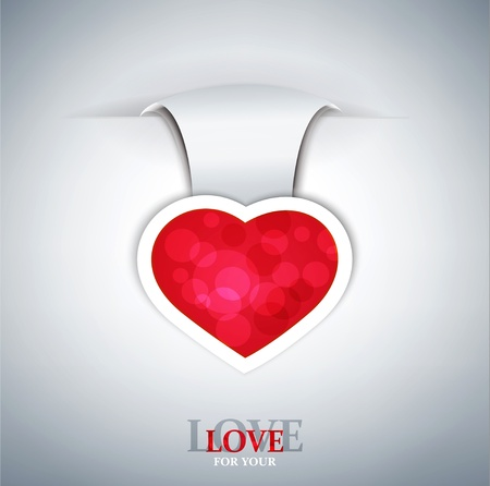 romantic vector background with a red heart Vector