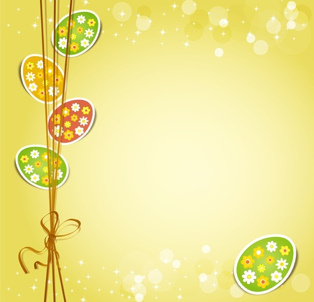 background with holiday Easter eggs Vector