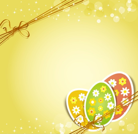 easter decorations:  background with holiday Easter eggs Illustration