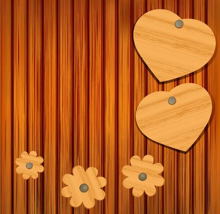 passion ecology: wooden heart and flowers on a wooden background for Valentine