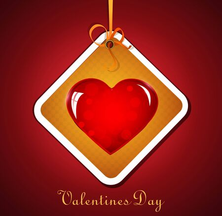 festive background with hanging heart for Valentine Stock Vector - 11906898