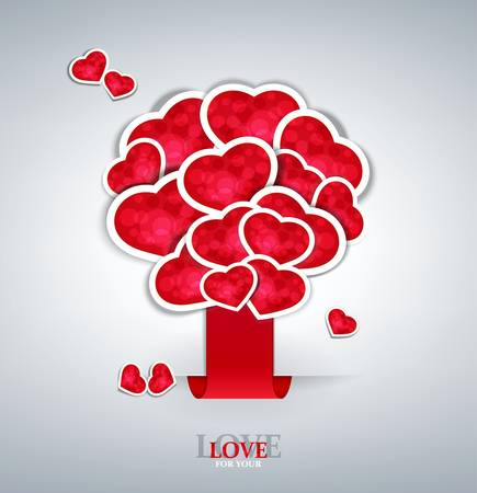 love symbols: vector holiday background with  label sticking with hearts tree Illustration
