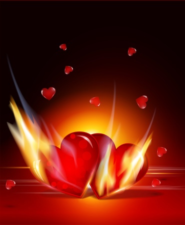 background for Valentines Day with two glowing hearts Vector