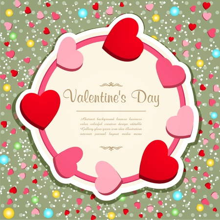 vintage frame with hearts and flowers to Valentines Day Vector