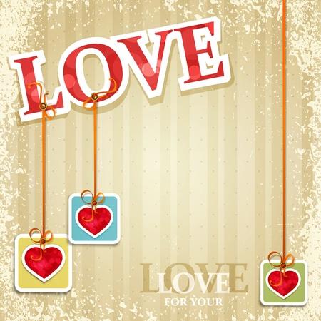 vintage, grunge background for Valentine's Day Stock Vector - 11906922