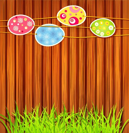 Easter eggs on a wooden wall background Vector