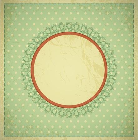 postal vintage: grunge, el fondo de la vendimia con un marco circular y encajes Vectores