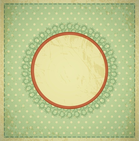 wedding photo album: grunge, vintage background with a circular frame and lace