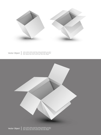 Blank cardboard boxes on a white background Vector
