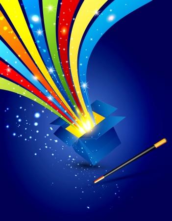 Fond de magie avec une boîte ouverte et un coup de baguette magique