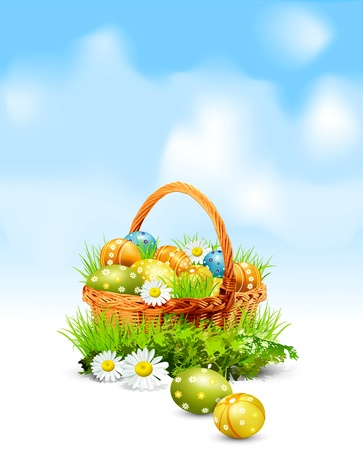 Easter background with a basket full Easter eggs Vector