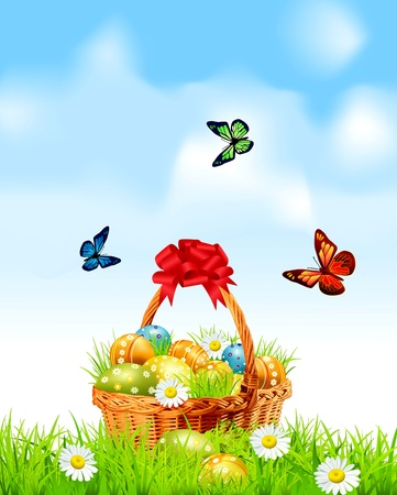giftbasket: Pasen achtergrond met een mand vol paaseieren Stock Illustratie