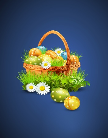eggs in basket: a basket full of Easter eggs on a blue background
