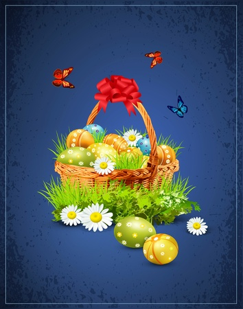 a basket full of Easter eggs on a blue background Stock Vector - 12003678