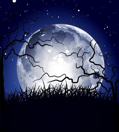 la noche de fondo con la luna y las siluetas de los árboles Ilustración de vector