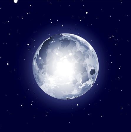 espacio de fondo con la luna y las estrellas Ilustración de vector