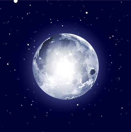 ruimte achtergrond met de maan en de sterren Vector Illustratie