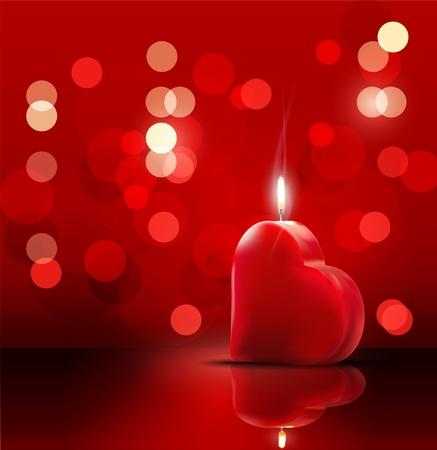 bougie coeur: toile de fond romantique pour la Saint-Valentin