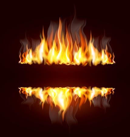 텍스트의 불타는 화염과 장소 배경 일러스트