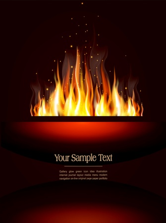 booklet with a burning flame and place for text