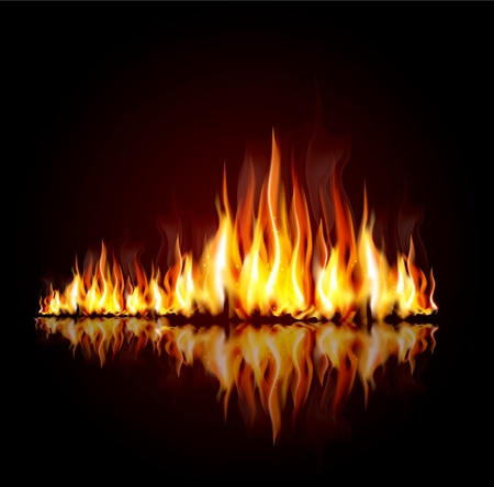 background with a burning flame Vector