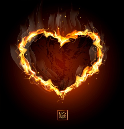 red love heart with flames: coraz�n ardiente sobre un fondo negro