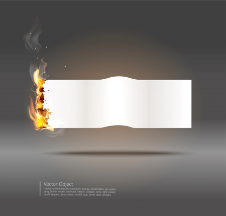 burning paper: background with glowing paper banner  Illustration