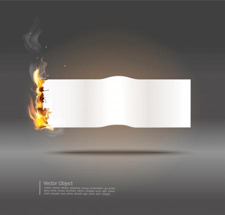 lettre de feu: fond avec la banni�re du papier brillant