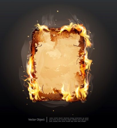 burning paper: background with glowing ancient parchment