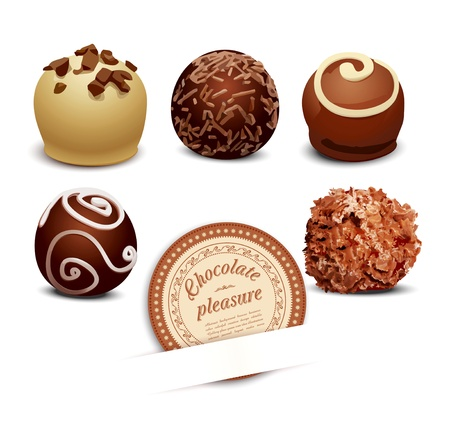 chocolate truffle: set of chocolate on a white background