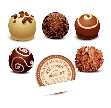 praline: set van chocolade op een witte achtergrond