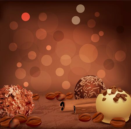 romantic background with chocolates, coffee beans and cinnamon