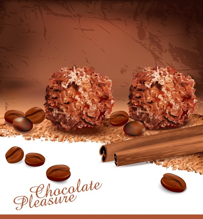 temptation: background with romantic chocolates, coffee beans and cinnamon