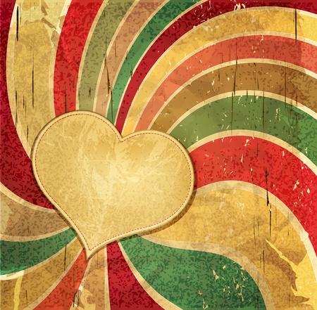 burnt edges: vintage romantic grunge background with heart Illustration