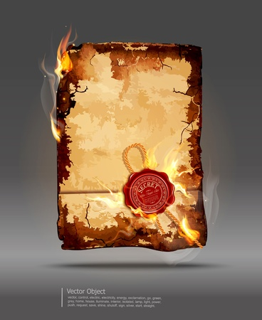 burning paper:  burning parchment with wax seal Illustration