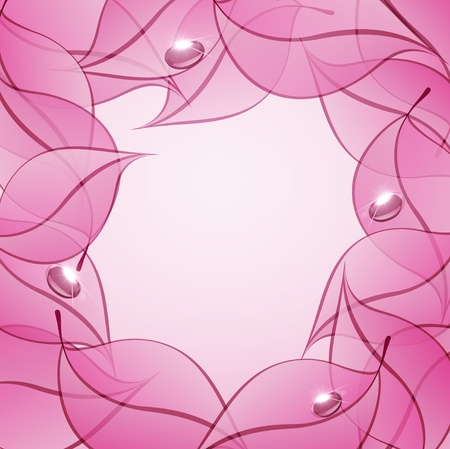 vector abstract background with pink leaves and drops of dew Vector