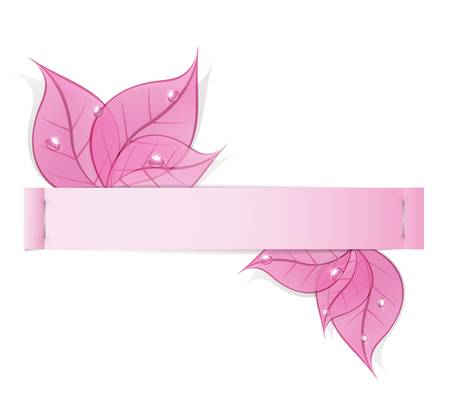 paper strip with pink leaves and drops of dew on a white background Vector