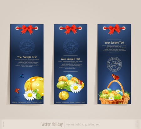 religion  herb:  set Easter card  on a blue background