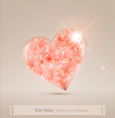 large glass heart filled with hearts Vector
