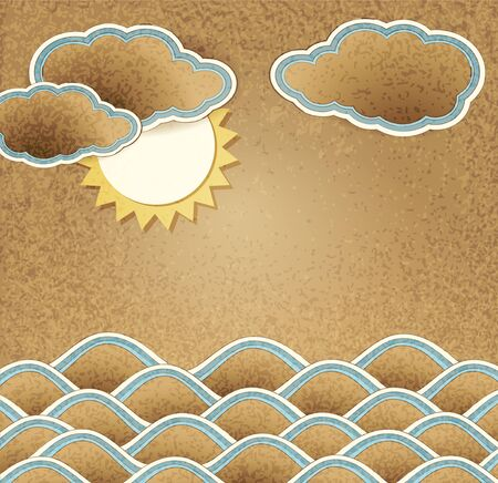 sand asia:  vintage background with sea, clouds and sun on cardboard