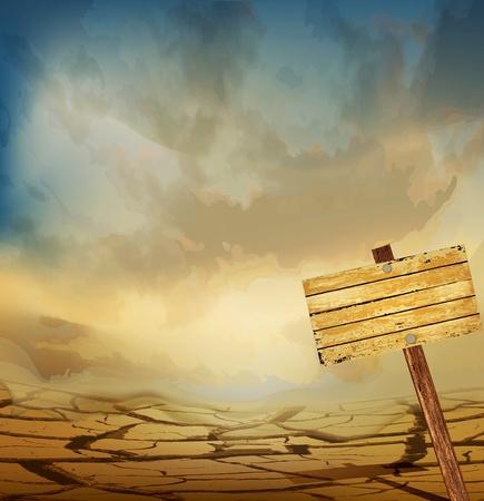 vector desert landscape with a wooden plaque